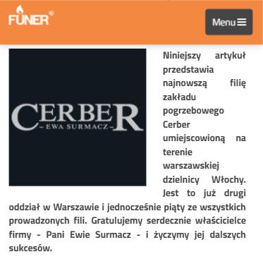 Artykuł o Cerberze na portalu FUNER.com.pl